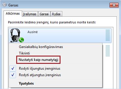 """Nustatyti įrenginį kaip numatytąjį sistemoje """"Windows"""""""