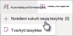 Taisyklės kūrimo iš sąrašo meniu Automatizuoti ekrano nuotrauka