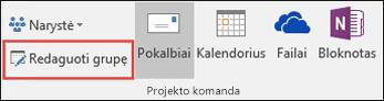 """Grupės redagavimas programoje """"Outlook 2016"""""""