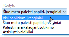 Dialogo langas Išorinių priedų valdymas, kuriame rodomas šiuo metu įkeltų išorinių priedų išplečiamasis sąrašas.