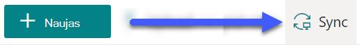 """""""SharePoint"""" dokumentų bibliotekose mygtukas sinchronizuoti pasiekiamas šalia puslapio viršaus."""