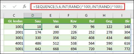 Funkcijos SEQUENCE pavyzdys su įdėtais argumentais INT ir RAND norint sukurti duomenų rinkinio pavyzdį