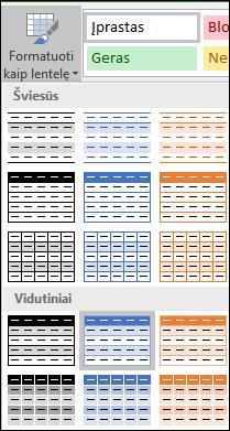 """Parinkties Formatuoti kaip lentelę """"Excel"""" stilių galerijos pasirinkimai"""