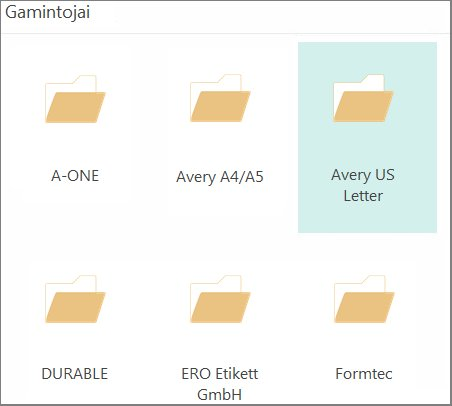 """Konkrečių atvirukų gamintojų, pvz., """"Avery"""", atvirukų šablonai."""