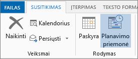 """Planavimo pagalbinės priemonės mygtukas programoje """"Outlook 2013""""."""