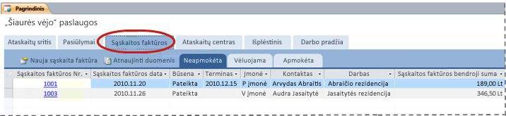 """""""Services"""" duomenų bazės šablono skirtukas Sąskaitos faktūros"""