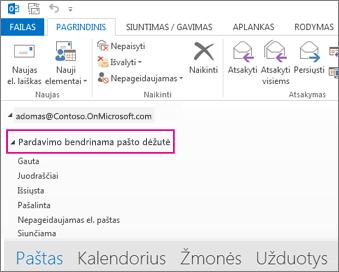 """Bendrinama pašto dėžutė rodoma """"Outlook"""" aplankų sąraše"""