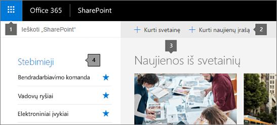 SharePoint Online pagrindinio puslapio