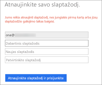 """""""Office 365"""" paragina vartotoją sukurti naują slaptažodį."""