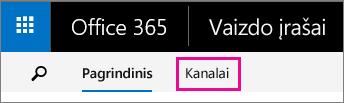 """Kanalų mygtukas """"Office 365"""" vaizdo įrašų portalo viršutinėje naršymo juostoje"""