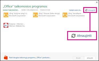 """""""Office"""" taikomųjų programų atnaujinimo mygtukas"""