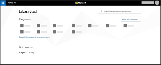"""Office 365"" pagrindinis puslapis"