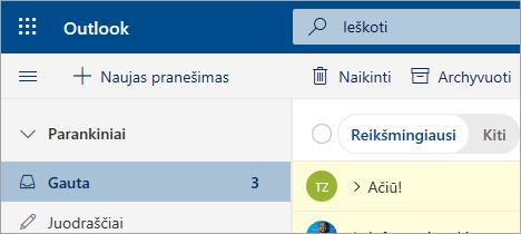 """Ekrano nuotrauka laiškų """"Outlook"""" žiniatinklio beta"""