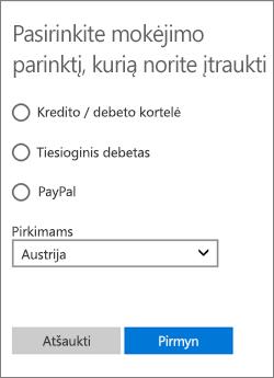 Meniu Pasirinkite mokėjimo būdą, kuriame rodomos Austrijoje pasiekiamos parinktys.