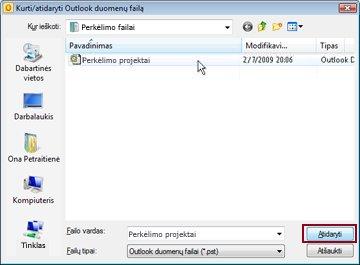 Dialogo langas Kurti / atidaryti Outlook duomenų failą