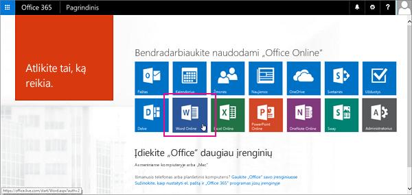 """Pasirinkite """"Office Online"""" programą"""