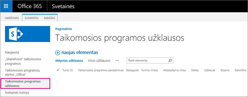 Programos užklausos saito ekrano nuotrauka