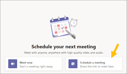 Pasirinkite planuoti susitikimo mygtuką