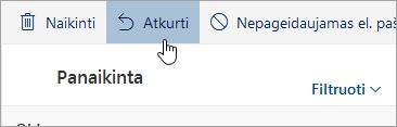 Ekrano nuotrauka mygtuką atkurti