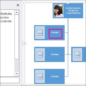 """""""SmartArt"""" organizacijos struktūros vaizdavimas, naudojant organizacijos struktūros laukelius, kuriuose paryškintos vietos, kuriose galima įvesti tekstą"""