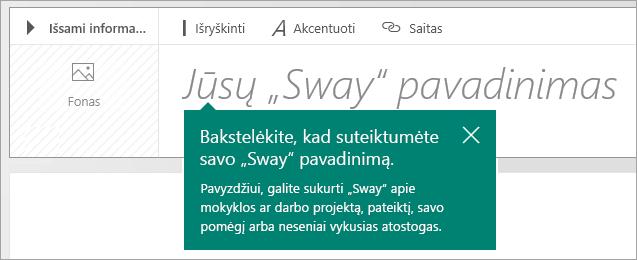 """Pavadinimo eilutė """"Sway"""" siužete"""