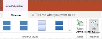 """Alternatyviojo teksto mygtukas """"SmartArt"""", """"PowerPoint Online"""" juostelėje."""