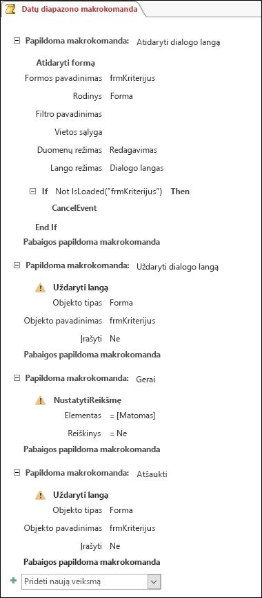 """""""Access"""" makrokomandos ekrano nuotrauka su keturiomis papildomomis makrokomandomis ir veiksmais."""