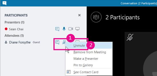 Unmute participant option on conversation view
