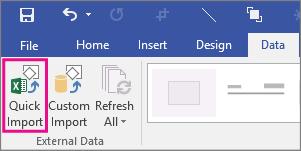 Mygtukas Spartusis duomenų importavimas