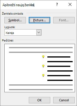 Naujas ženklelio ekranas su pasirinktu paveikslėliu