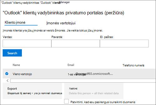 """Ekrano nuotrauka: """"Outlook Customer Manager"""" kliento duomenų eksportavimas"""