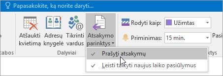 """""""Outlook 2016"""", skirtos """"Windows"""", mygtuko Prašyti atsakyti ekrano nuotrauka"""