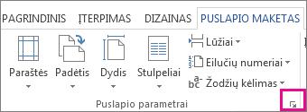 Mygtukas, atidarantis langą Puslapio sąranka