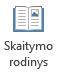 """Skaitymo rodinys yra tinkamas skaitymo """"PowerPoint"""" pateikties visame ekrane, kai yra be pranešėjo."""