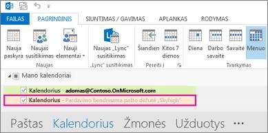 """Bendrinamas kalendorius, rodomas """"Outlook"""" aplankų sąraše"""