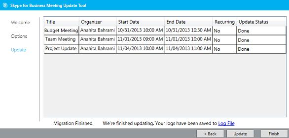 Darbą baigusio susitikimų perkėlimo įrankio ekrano kopija