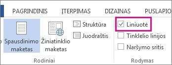 """""""Word 2013"""" skirtuko Rodymas, kuriame matoma pasirinkta ir pažymėta liniuotės parinktis, ekrano nuotrauka."""
