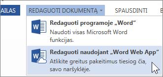 """Redagavimas """"Word Online"""""""