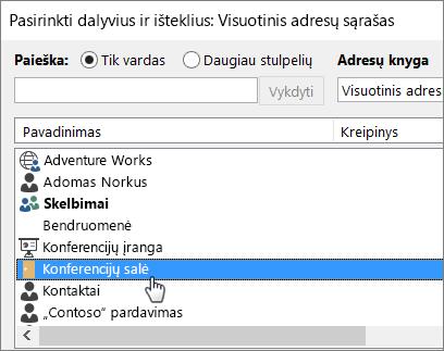 """Salės rezervavimas naudojant """"Outlook"""" pašto dėžutę"""