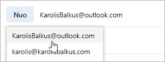 Ekrano kopija, kurioje rodomas adreso Nuo išplečiamasis sąrašas