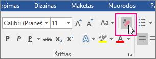 Skirtuke Pagrindinis paryškinta piktograma Valyti visą formatavimą