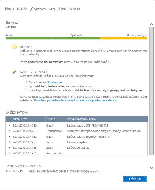 Pranešimų sekimo informacijos puslapio ekrano kopija, kurioje matomas pavyzdys, kaip atrodo pranešimų sekimo išsami informacija.