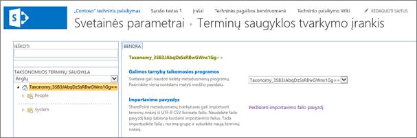 Terminų saugyklos valdymo ekrane