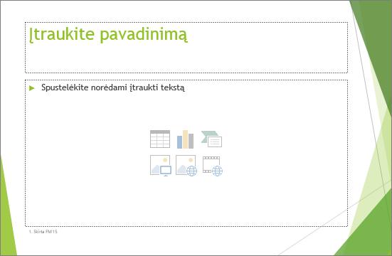 """Rodoma vietos rezervavimo ženklo pavadinimo ir turinio skaidrė programoje """"PowerPoint"""""""