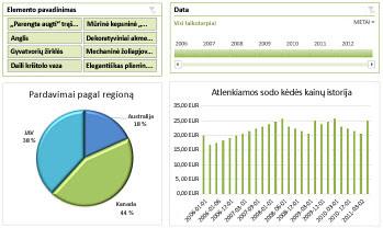 """""""Excel Services"""" ataskaitų srities pavyzdys"""