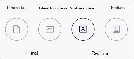 """Vaizdų nuskaitymo """"OneDrive"""", skirtos """"iOS"""", režimo parinktys"""