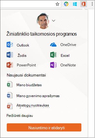 """Spustelėkite Office Online išplėtimas, Norėdami atidaryti sritį Office Online """"Chrome"""" plėtiniai juostoje."""