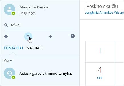 """Ekrano nuotrauka, kuioje matoma, kur atlikti skambutį naudojant """"Skype"""""""