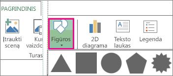 """Mygtukas Figūra """"Power Map"""" skirtuke Pagrindinis"""