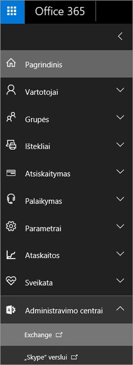 """Ekrano kopijoje pavaizduotas """"Office 365"""" administravimo centras, kuriame išplėsta Administravimo centrų parinktis ir pasirinkta """"Exchange""""."""